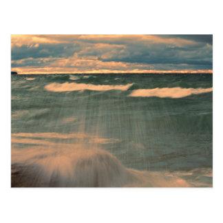 Lake Superior - Stormy Sunset Postcard