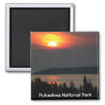 Lake Superior Sunset 2 Inch Square Magnet