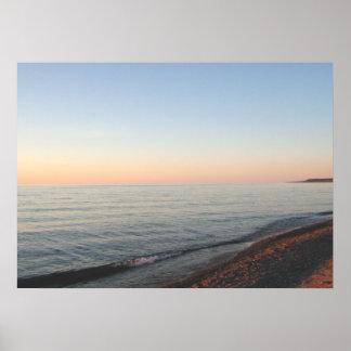 Lake Superior Sunset Upper Peninsula Art Poster
