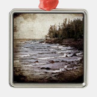 Lake Superior Waves Metal Ornament