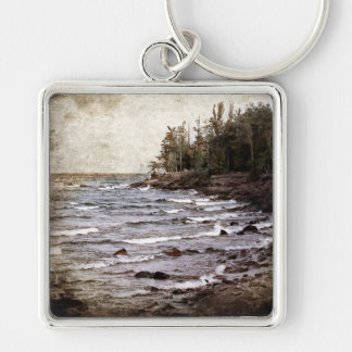 Lake Superior Waves Silver-Colored Square Keychain