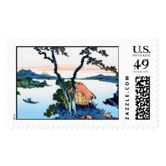 Lake Suwa in the Shinano province Hokusai Postage