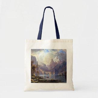 Lake Tahoe by Albert Bierstadt, Vintage Landscape Tote Bags
