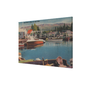 Lake Tahoe CA - Boat Harbor at Bijou Wooden Gallery Wrap Canvas
