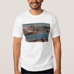 Lake Tahoe, CA - Boat Harbor at Bijou Wooden T-Shirt