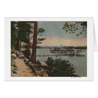 Lake Tahoe, CA - Emerald Bay View with Steamer Greeting Cards