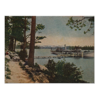 Lake Tahoe, CA - Emerald Bay View with Steamer Poster