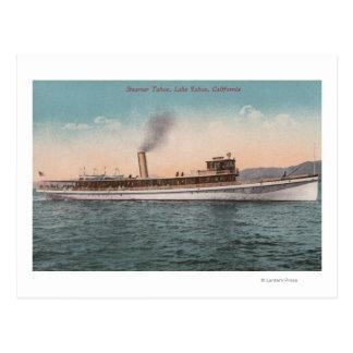 Lake Tahoe, CA - Steamer Tahoe Large Wood Ship Postcard