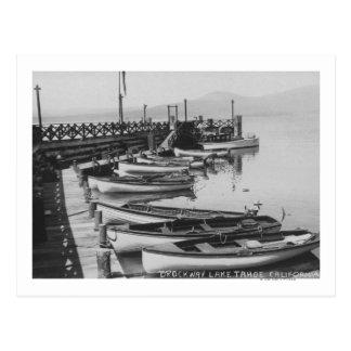 Lake Tahoe, CA - Wooden Boats along Dock Photo Postcard