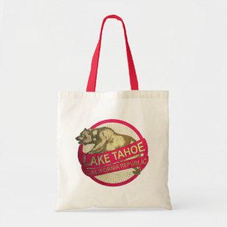 Lake Tahoe California vintage bear tote bag
