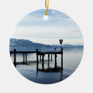 Lake Tahoe Dock Double-Sided Ceramic Round Christmas Ornament