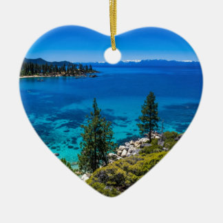 Lake Tahoe Double-Sided Heart Ceramic Christmas Ornament