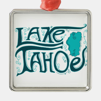 Lake Tahoe Hand Drawn Logo Metal Ornament
