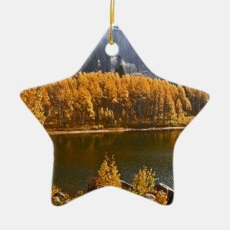 Lake Tahoe in the Fall / Winter Landscape Ceramic Ornament