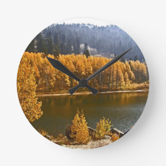 Lake Tahoe in the Fall / Winter Landscape Round Clock