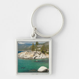 Lake Tahoe Landscape Silver-Colored Square Keychain