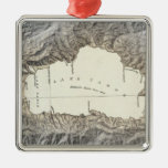 Lake Tahoe map Square Metal Christmas Ornament