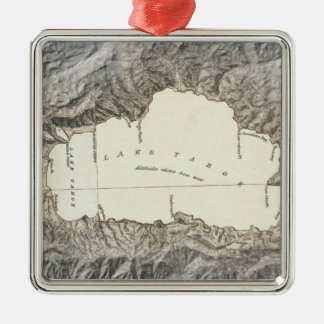 Lake Tahoe map Square Metal Christmas Ornament