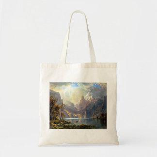 Lake Tahoe painting Nevada art by Albert Bierstadt Canvas Bags