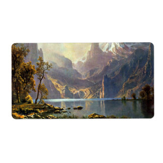 Lake Tahoe painting Nevada art by Albert Bierstadt Shipping Label