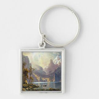 Lake Tahoe painting Nevada art by Albert Bierstadt Silver-Colored Square Keychain