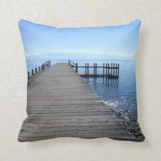 Lake Tahoe Pier Throw Pillow