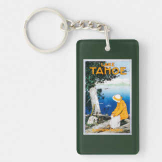 Lake Tahoe Promotional PosterLake Tahoe, CA Rectangle Acrylic Keychain