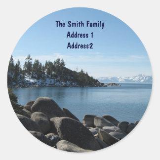 Lake Tahoe Return Address Classic Round Sticker