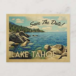 Lake Tahoe Save The Date Vintage Postcards