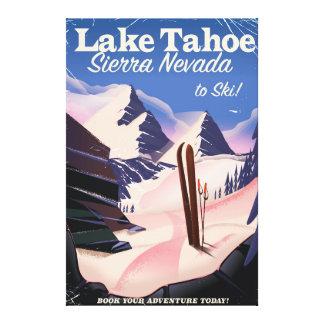 Lake Tahoe sierra nevada vintage ski poster Canvas Print