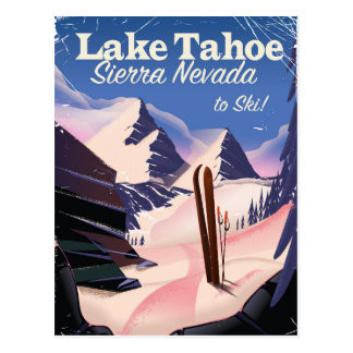 Lake Tahoe sierra nevada vintage ski print Postcard