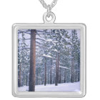 LAKE TAHOE STATE PARK, NEVADA. USA. Fresh snow Silver Plated Necklace