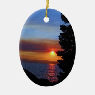Lake Tahoe Sunset Ceramic Ornament