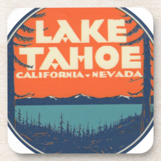 Lake Tahoe Vintage Travel Decal Design Beverage Coaster