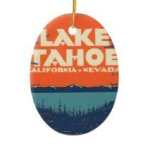 Lake Tahoe Vintage Travel Decal Design Ceramic Ornament