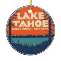 Lake Tahoe Vintage Travel Decal Design Ceramic Ornament