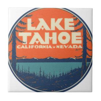 Lake Tahoe Vintage Travel Decal Design Ceramic Tile