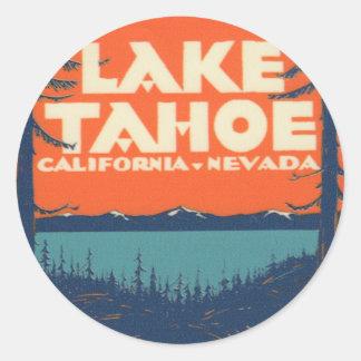 Lake Tahoe Vintage Travel Decal Design Classic Round Sticker