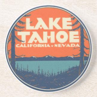 Lake Tahoe Vintage Travel Decal Design Coaster