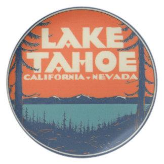 Lake Tahoe Vintage Travel Decal Design Dinner Plate