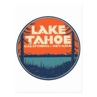 Lake Tahoe Vintage Travel Decal Design Postcard
