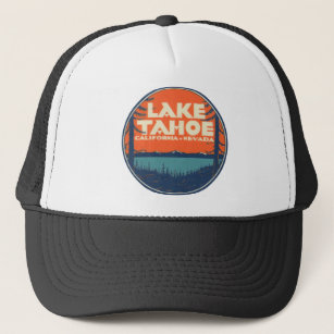 b27784ab437 Lake Tahoe Vintage Travel Decal Design Trucker Hat