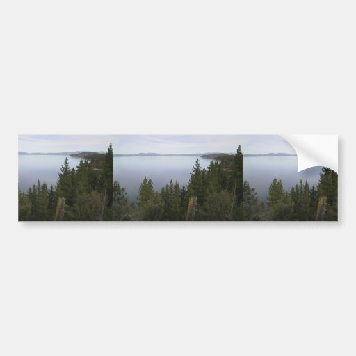 Lake Tahoe With Pine Trees Bumper Stickers