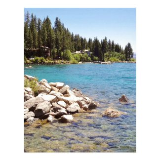 Lake Tahoe's clear waters with snowy mountains Letterhead