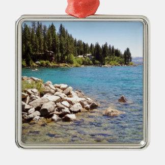 Lake Tahoe's clear waters with snowy mountains Metal Ornament
