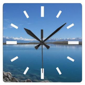 Lake Tekapo, New Zealand Square Wall Clock