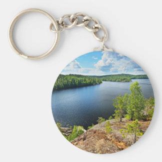 Lake Themed Basic Round Button Keychain