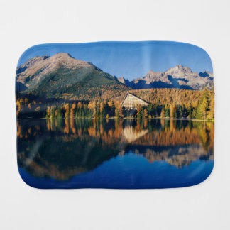 Lake Themed, Crystal Clear Mirror Lake Under The M Baby Burp Cloth