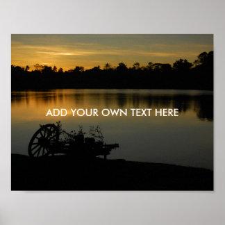 Lake twilight scene poster