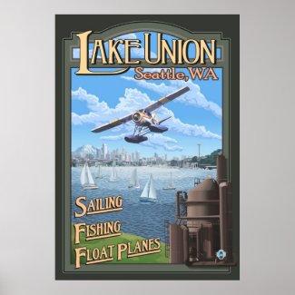 Lake Union Float Plane - Seattle, WA Travel Poster print